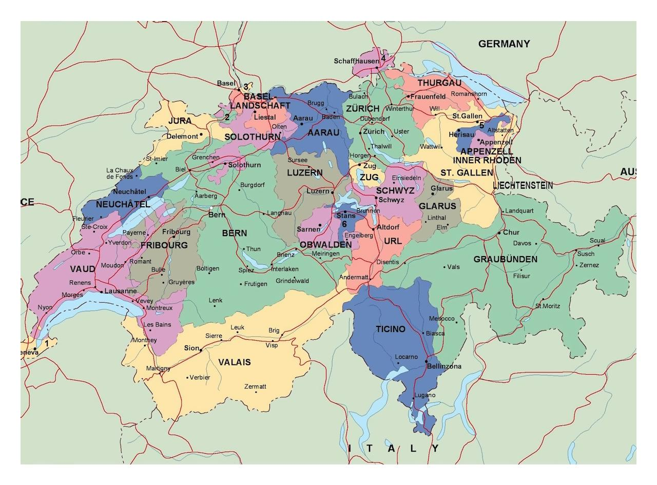 Map Of Germany Showing Major Cities.Major Cities In Switzerland Map Map Of Switzerland With Cities And