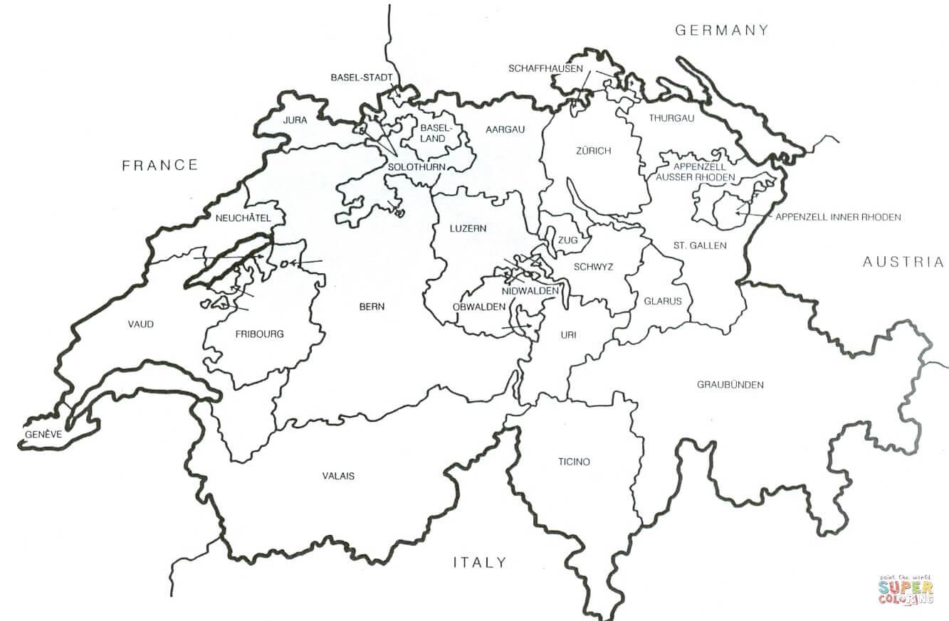 Picture of: Switzerland Map Outline Switzerland Blank Map Western Europe Europe