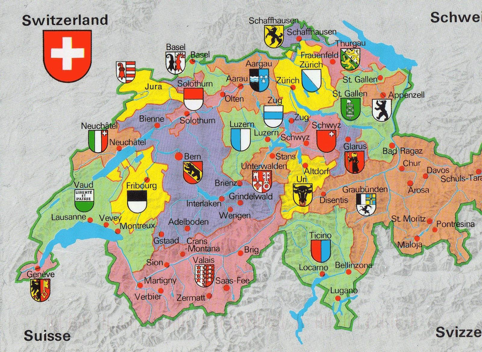 Switzerland map with tourist attractions - Map of switzerland with ...
