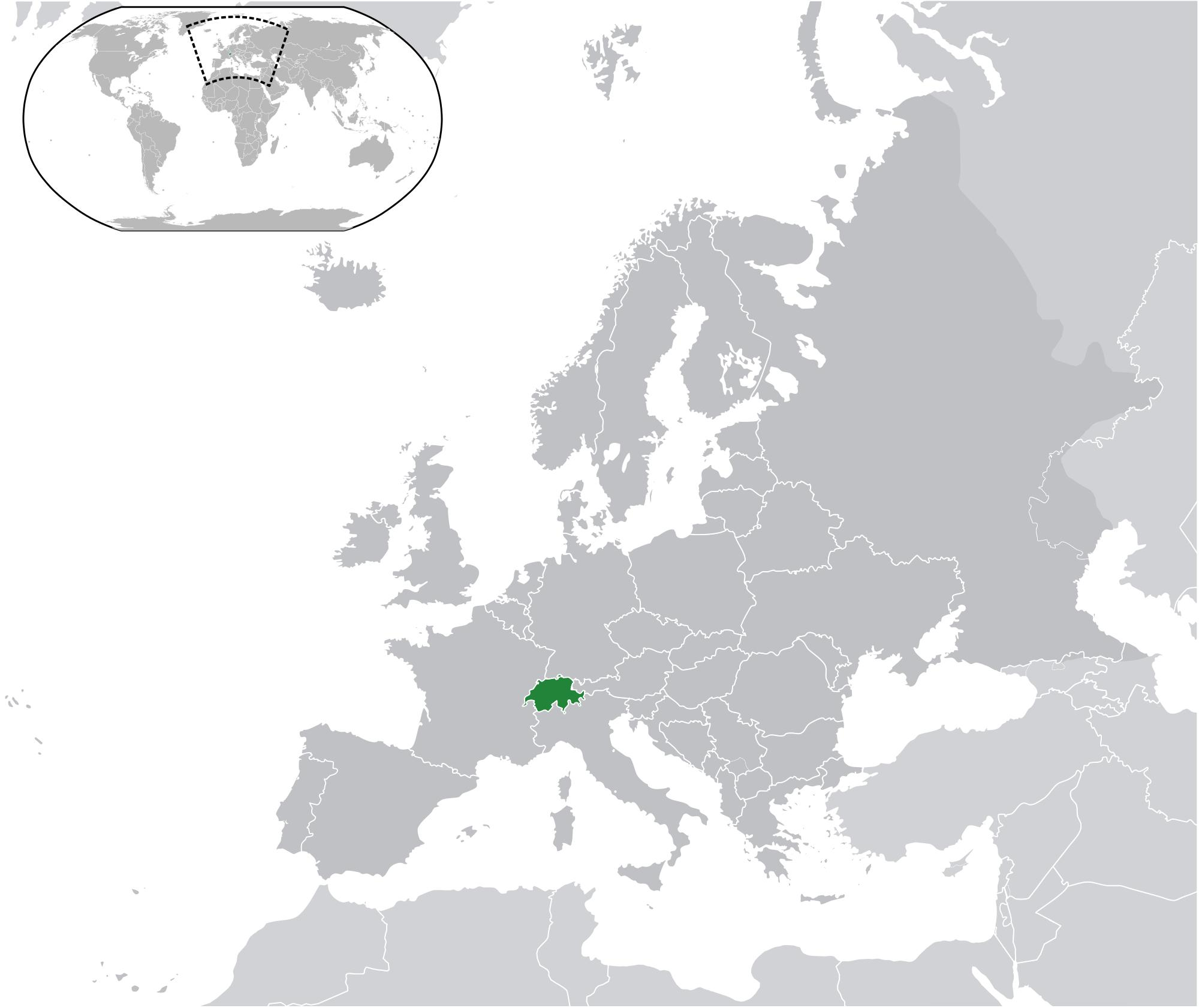 Switzerland On World Map Switzerland Map On World Western Europe