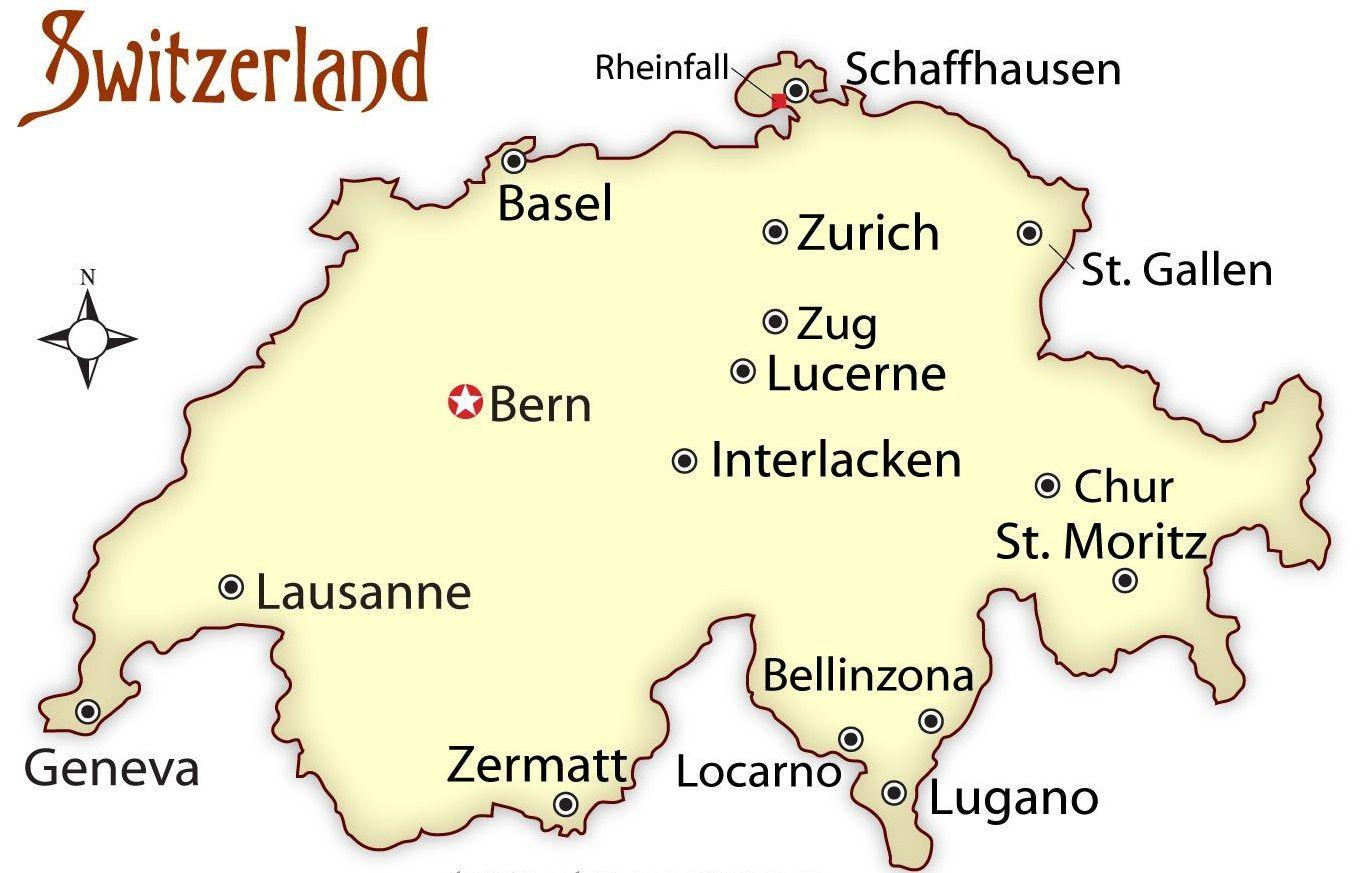 Tourist Map Of Switzerland canadian shield map