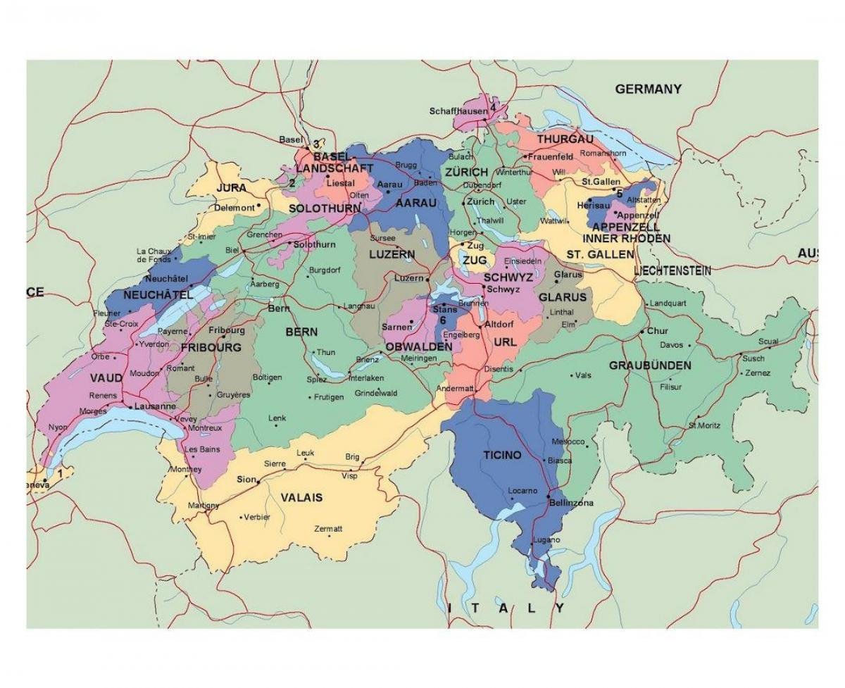Picture of: Road Map Of Switzerland Detailed Map Of Switzerland Western Europe Europe