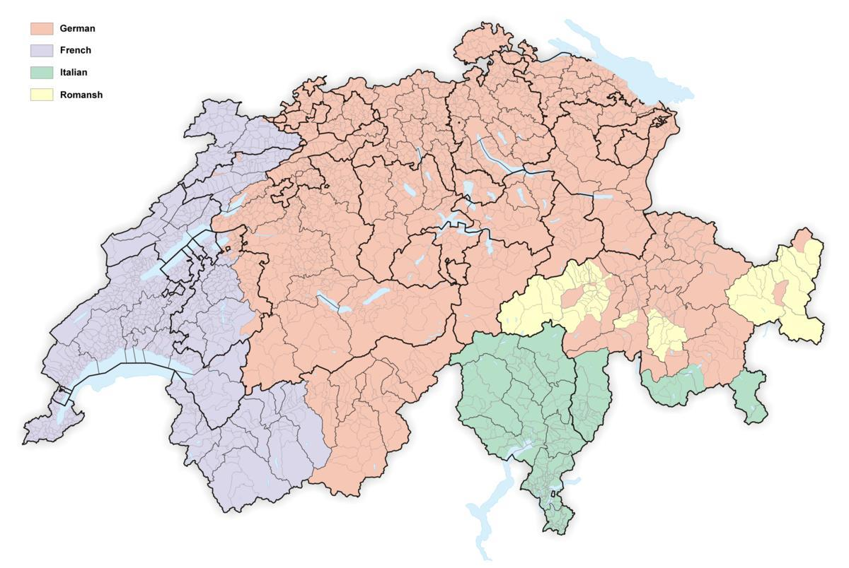 map of switzerland language