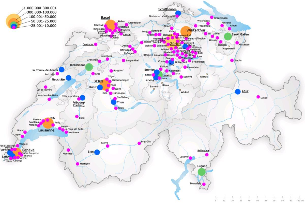 switzerland map with major cities