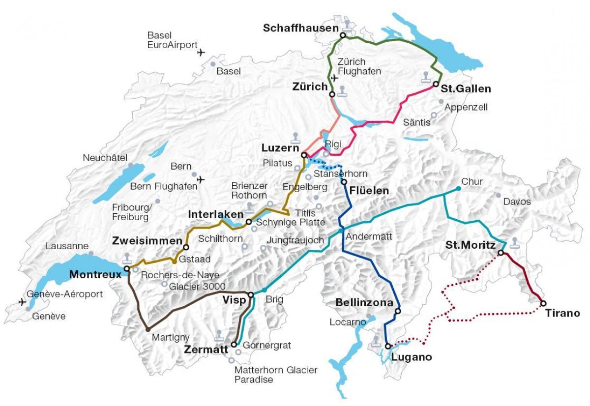 Switzerland Train Map Switzerland rail map   Switzerland train route map (Western Europe