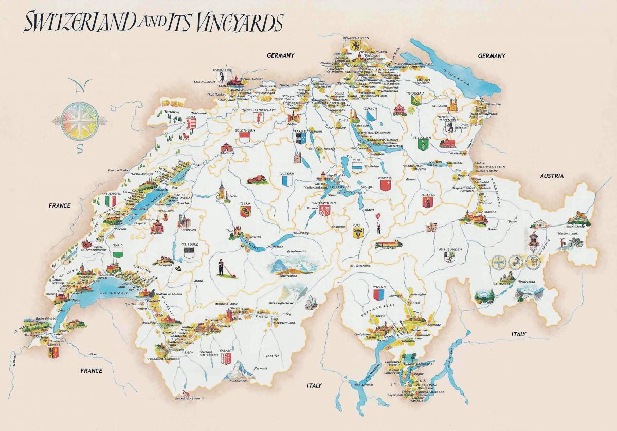 tourist attractions in switzerland map