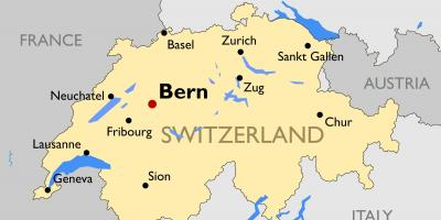 Map of switzerland with major cities